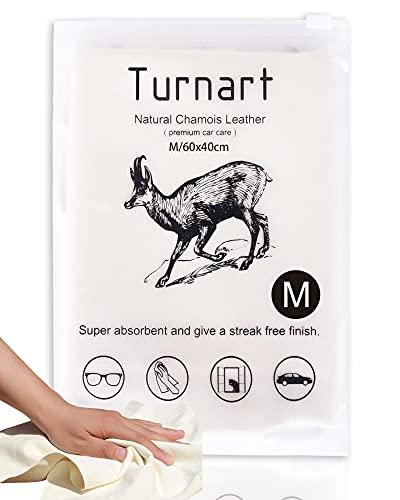 TURNART Auto Reinigungstuch Fensterleder Autoleder Tücher aus echtem Leder (60 x 40 cm)
