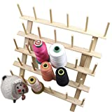 Foldable Large Thread Rack Wood Thread Holder 28 Spool Thread Wooden Storage Rack Thread Spool Stand Sewing Cone Storage Organizer, Sewing Quilting Embroidery Bobbin Organizer, Sewing Craft Tools