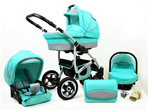 Lux4Kids Kinderwagen 3 in 1 Kombi Komplettset mit Autositz Isofix 2in1 Babywanne Babyschale Buggy Buggy Baby Larmax Mint 3in1 mit Babyschale