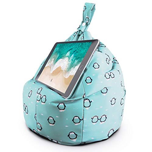 Planet Buddies Tablet & iPad Stand, Cushion Tablet Holder, Ideal for iPad, Samsung, Huawei or any Tablet Up to 12.9 inches, Two Pockets for Storage, Ergonomic Design - Blue Penguin