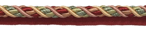 24.7 Meter Package of Large RED, LIGHT ROSE Baroque Collection 11 Metersm Cord with Lip Style# 0716BL Color: ROSE BOUQUET - 7953 (81 Ft / 24.7 Meters.)