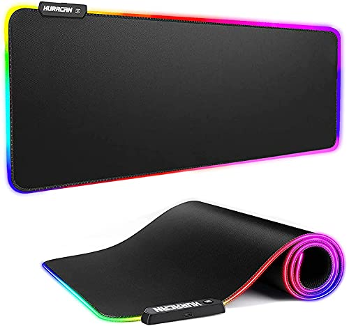 RGB Mouse Pad Large Extended Gaming Mat Soft LED Mouse Pads XL with 14 Lighting Modes 2 Brightness, Anti-Slip Rubber Base Computer Keyboard Waterproof Big Mousepad for Laptop Gamer, 31.5×11.8 inches