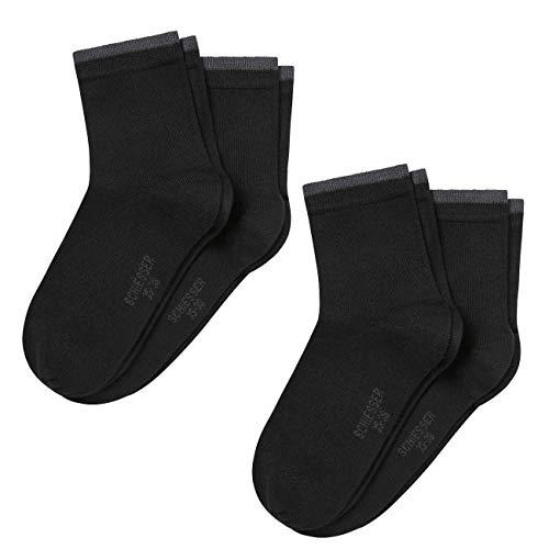 Schiesser Damen Socken Micromodal 4er Pack, Farbe:Schwarz (000), Größe:39-42
