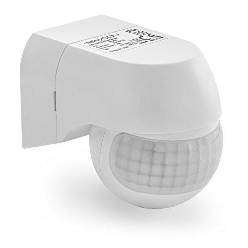 deleyCON 1x Infrarot Bewegungsmelder - für Innen und Außen - Reichweite bis 12m bei 180° - Dreh-/Neigbar - IP44 - Spritzwasserschutz - Weiß