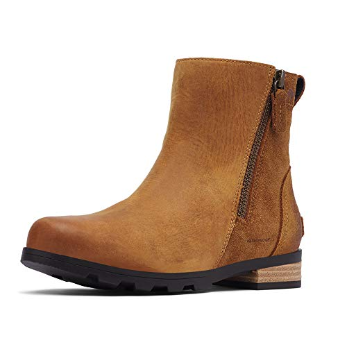 Dames Sorel Emelie Zip Bottesie Suede Outdoor Casual Mode Enkellaars - Camel Bruin - 38
