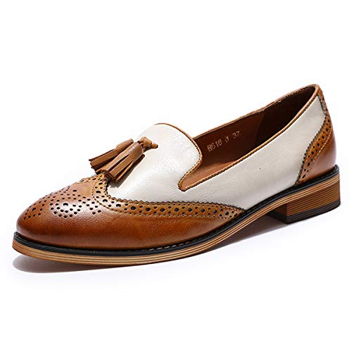 Mona flying Women s Leather Penny Loafer Casual Flat Shoes for Women Ladies Girls