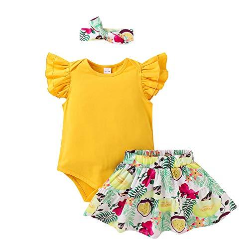 Neugeborenes Säugling Baby Mädchen Fliege Ärmel Strampler Blumen Rock Haarband Outfits Sets A30