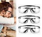 3 pares de gafas de seguridad para uso industrial, con patillas ajustables individualmente, antiniebla, resistentes a los arañazos, para uso industrial, agrícola o de laboratorio.