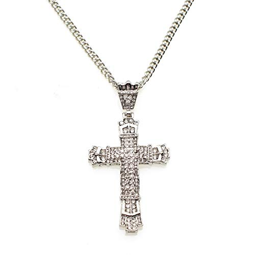 80s Man Big Cross Necklace Gold Metal Pendant for Men Long Chain Christian Jewelry (Silver)