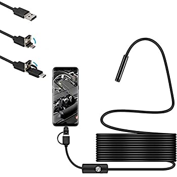 USB Snake Inspection Camera 2.0 Mp Ip67 Waterproof USB C Borescope Type-c Scope Camera with 6 Adjustable Led Lights Endoscope Camera for Android PC s Endoscope Camera