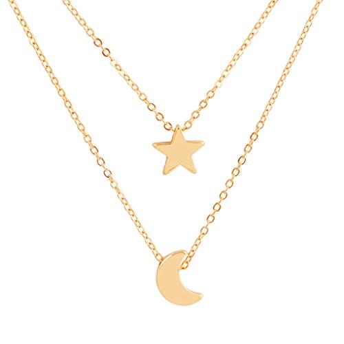 Allinbuy Doble Capa de Las Mujeres Collar de Cadena Ajustable geométrica Cuello Colgante cuelga la joyería del Cuerpo del Regalo de la Muchacha Estrella de la Luna