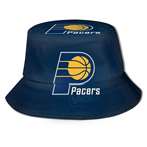 Indiana Logo Pacers Unisex Womens Mens Fisherman Hat Wide Brim Bucket Cap Sun UV Protection for Travel Sports Fishing Black