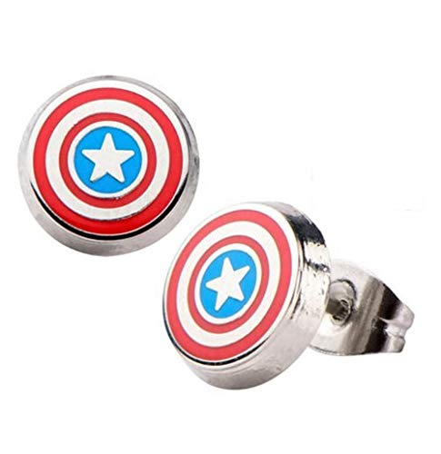 Enamel Captain America Logo - Officially Licensed Premium Quality Round Stud Earrings Set