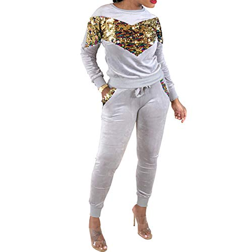 Sweaters for Women-Sports Women Colorful Sequined Two Piece Tracksuit Loungewear...