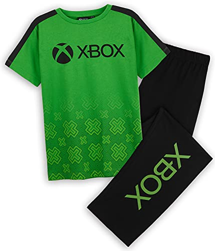 Xbox Pigiama Bambino, Pigiama Ragazzo 7-15 Anni A Manica Corta, Pigiama Lungo in Cotone, Idea Regalo per Gamer (Verde, 15 Anni)
