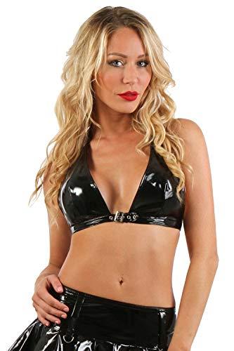 Miss Noir Camiseta corta para mujer con aspecto mojado, de vinilo, cuello...
