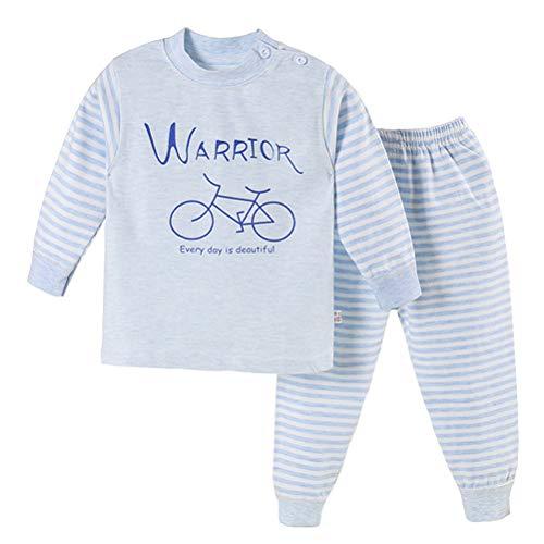 Nothing Baby Jungen Mädchen Thermounterwäsche-Set Langarm Top + Hose Baumwolle Unterwäsche Kleidung Neugeborene Kleinkind Outfits 2-teiliges Set Gr. 60 cm(24 Monate), #03 Blaues Fahrrad
