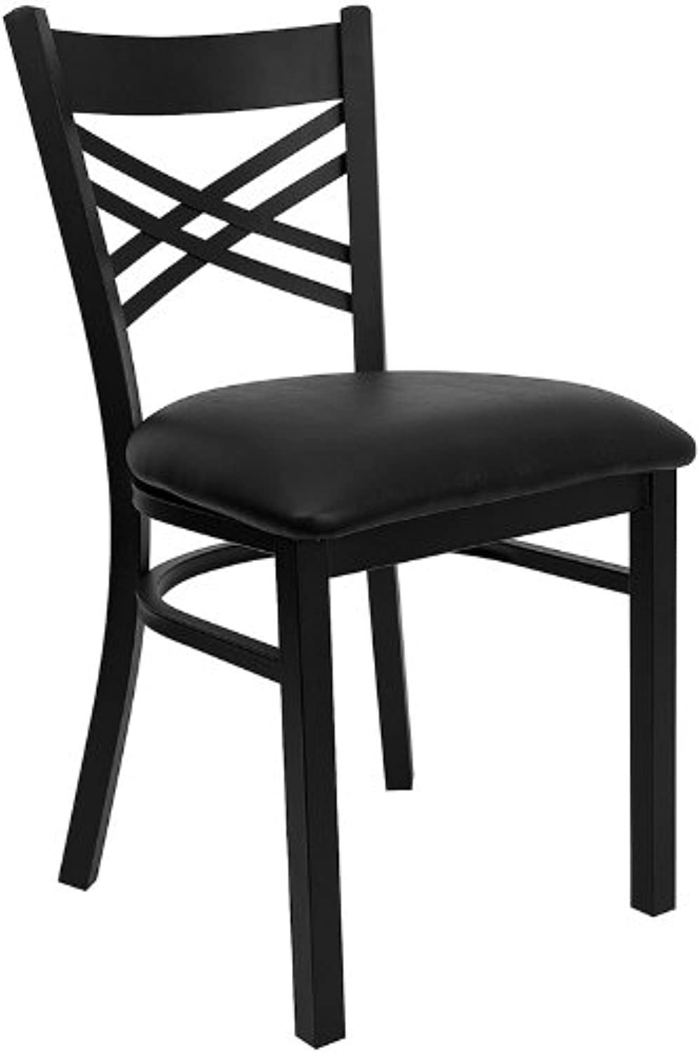 Flash Furniture HERCULES Series Black ''by'' Back Metal Restaurant Chair - Black Vinyl Seat