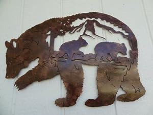 Bear Mountain Scene Metal Wall Art Home Decor - Antique Copper Color