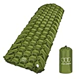 Gold Armour Sleeping Pad – Ultralight Compact Inflatable Camping Pad for Backpacking Traveling Hiking Camping Air Cells Design for Better Stability & Support – Tested 2.5 R-Value (Army Green)