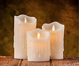 Real Wax Realistic Waverly Moving Flame wick battery operated flameless LED Candle set of 3