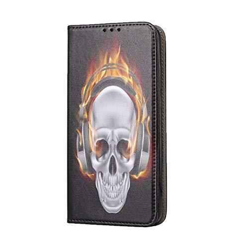 KX-Mobile Hülle für Huawei P40 Lite Handyhülle Motiv 505 Totenkopf Skull mit Kopfhörer in Flammen Premium Smart aus Kunstleder einseitig Bedruckt HandyCover Handyhülle für Huawei P40 Lite Hülle