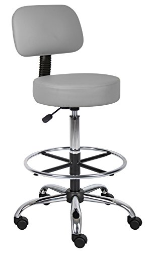 Boss Office Products Drafting Stool with Back Cushion, Grey