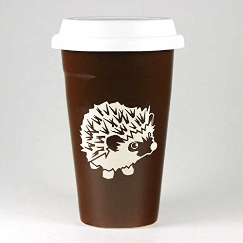 HEDGEHOG Travel Mug - BROWN - Insulated Ceramic Stoneware