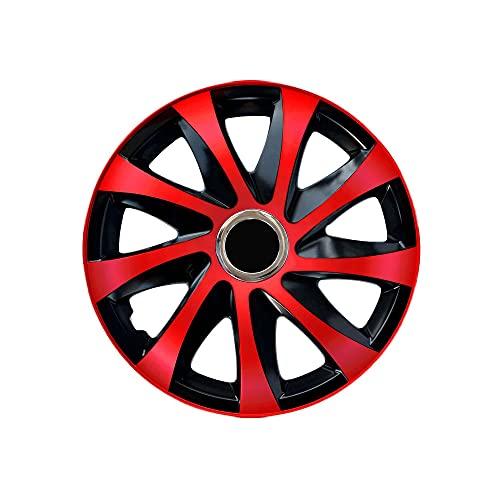 DRIFT EXTRA Lot de 4 enjoliveurs 16' noir/rouge