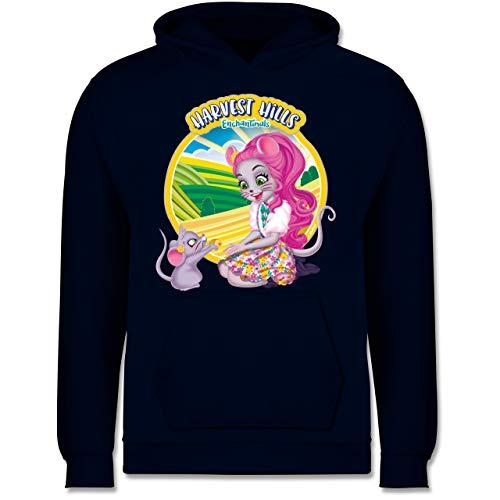 Shirtracer Enchantimals Mädchen - Harvest Hills - Mayla Mouse - 104 (3/4 Jahre) - Navy Blau - Geschenk - JH001K - Kinder Hoodie