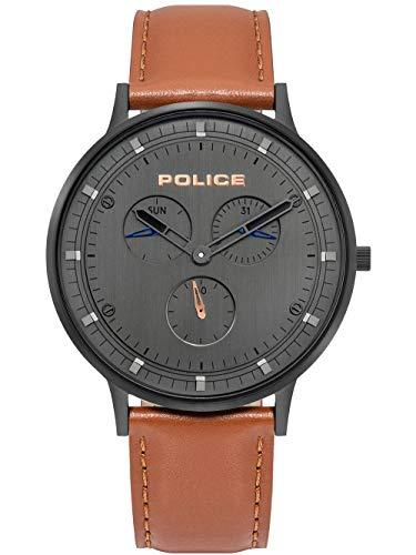 POLICE OUTLET Reloj Analógico para Unisex Adultos de Cuarzo con Correa en Cuero 1