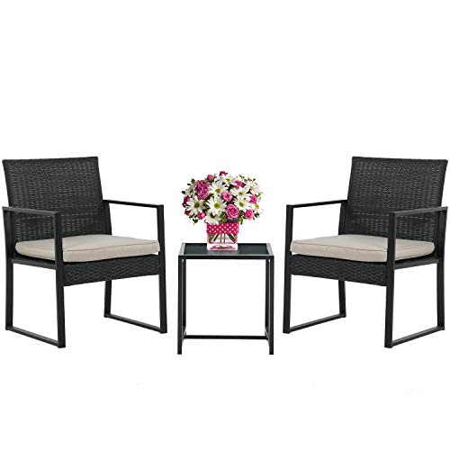Wicker Patio Furniture 3 Piece Patio Set Chairs Bistro Set Outdoor Rattan Conversation Set for Backyard Porch Poolside Lawn
