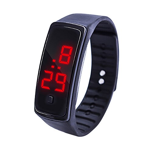 Digital Sports Watch Silicone Band LED Screen Watches Waterproof Casual Luminous Stopwatch Simple for Mens Students (Black)