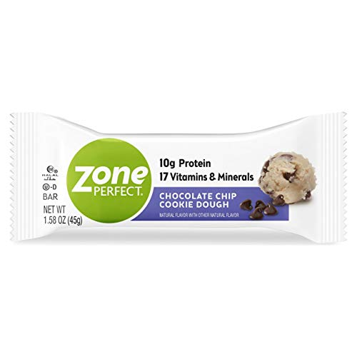 ZonePerfect Protein Bars, Chocolate Chip Cookie Dough, 10g of Protein, Nutrition Bars With Vitamins & Minerals, Great Taste Guaranteed, 10 Bars (Pack of 4)