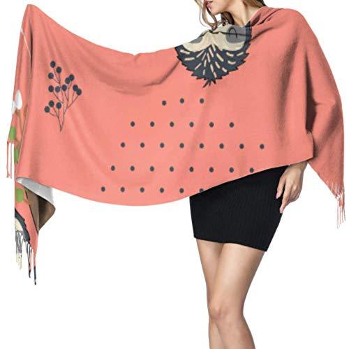 Cartoon-Schal zum Aufhängen, weich, Kaschmir, leicht, 196 x 68 cm, groß, weich, Pashmina, extra warm
