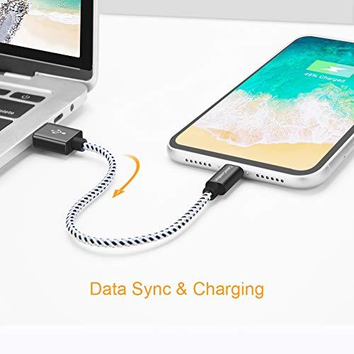 Lightning micro usb Kabel,[Apple MFi Zertifiziert]CableCreation 0.5 Ft kurz Lightning auf USB Daten Sync Kabel Kompatibel mit iPhone X, 8, 8 Plus, 7, 7 Plus, 6S, 6S Plus, iPad,usw. 15CM, Schwarz&weiß