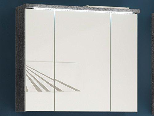 Spiegelschrank Badschrank Spiegel Badhängeschrank Wandschrank Badmöbel Peter I Beton/Weiß