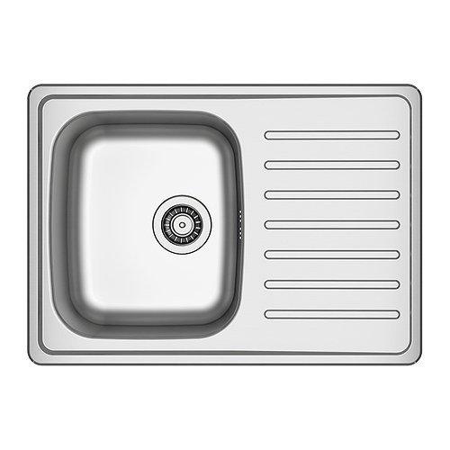 IKEA FYNDIG Einbauspüle 1 Becken; mit Abtropffläche; aus Edelstahl; inkl. ATLANT Siphon; (70x50cm)