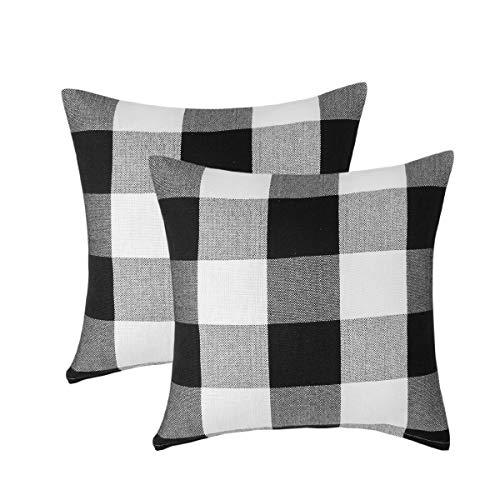 Vanky Set of 2 Buffalo Check Plaid Pillows Farmhouse Decor Christmas Pillow Covers Fall Outdoor Pillows Outside Porch Pillows Cotton Linen Throw Pillow Covers Black White 18 x 18 Inches
