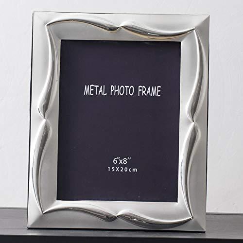 QKEMM Cornice Portafoto Regalo Souvenir souvenir Cornice In Metallo Onda D'Argento Dimensioni Foto 11,8×16,9cm