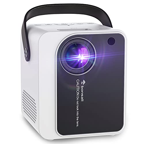 Outdoor Projector, Movie Projector for Outdoor Use with Portable Handle, 8000Lux 1080P Supported 180'Display Mini Video Projector with HIFI Speakers Compatible with Laptop/HDMI/USB/TV Stick/TF/AV/PS4