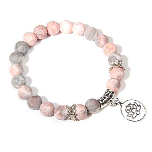 K-ONE Natural Pink Zebra Stone Bracelets Women Buddha Prayer Silver Color Lotus Charm Bangle Pulsera Healing Energy Women Bracelets