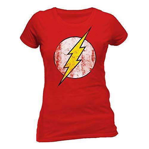 CID The Flash-Logo Camiseta, Rosso, M para Mujer