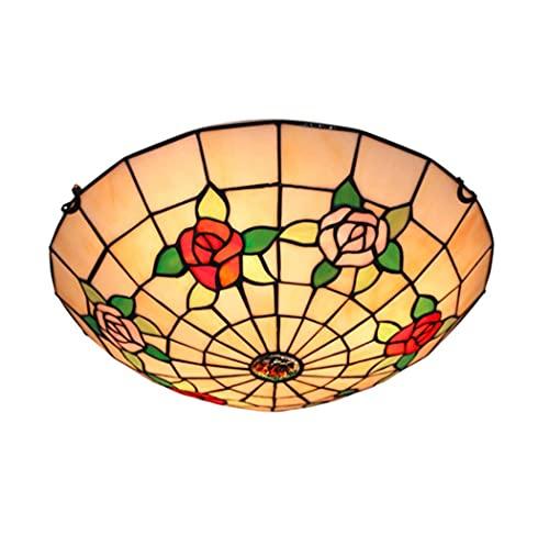 JYTBD Lámpara de techo de 16 pulgadas, diseño de rosas de 40,6 cm, para dormitorio, lámpara de techo de cristal manchado en pasillo de entrada hecho a mano, balcón (color: A)