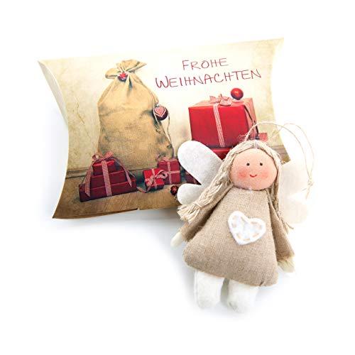 3 stuks kant-en-klare mini-kerstcadeaus engel van stof met hart natuurlijk beige rood om op te hangen engel hanger als kersthanger in de doos