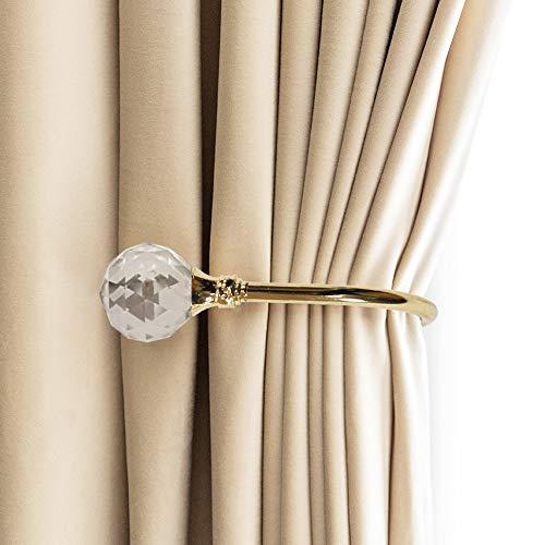 PHOEWON® 2 Pack Vorhang Raffhalter Kristall GardinenhalterVorhang Holdbacks Metall Raffhalters, Raffbügel für Vorhang (Klein, Gold)
