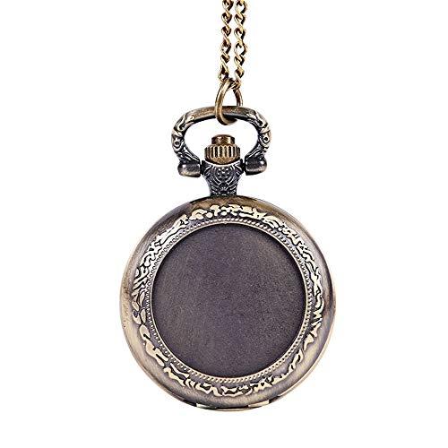 WFDA Reloj de Bolsillo con la Cadena Reloj de Bolsillo clásico de Encaje en Relieve Reloj de Bolsillo Vintage de Cadena Fina de Encaje Redondo Acanalado (Color, Size : Free Size)