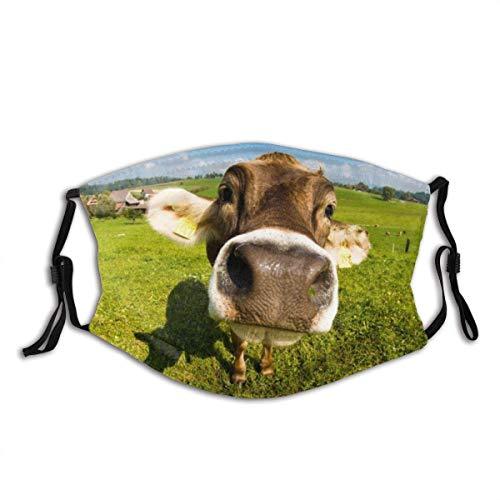 LREFON Gesicht Mas_ke Bull Kalb Gesicht Nase Kuh Hacienda Farm Sturmhaube Bandanas Camping Hals Gamasche mit 2 Filtern für Teen Männer Frauen