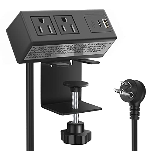 Desk Edge Clamp Power Strip, Desktop Power Outlet Clamp Mount with 2 USB Ports,2 AC Outlets,USB-C Power Outlets,Mountable Desk Outlet Removable Power Plugs with 6.56ft Cord (Black)
