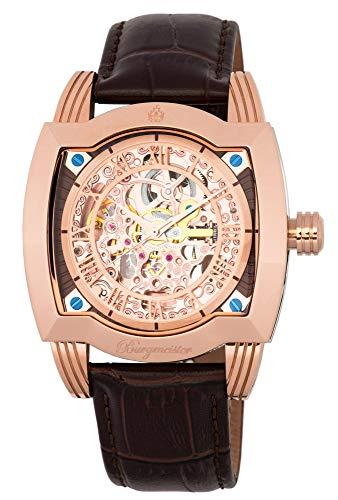 Burgmeister Armbanduhr für Herren mit Analog Anzeige, Automatik-Uhr und Lederarmband - wasserdichte Herrenuhr mit zeitlosem, schickem Design - Klassische Uhr für Männer - BM246-112 Belleville